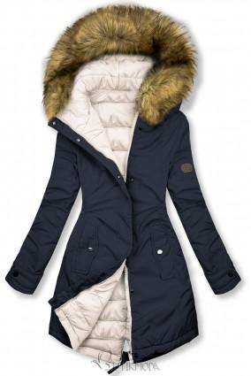 Sötétkék és tejfelfehér színű kifordítható téli kabát