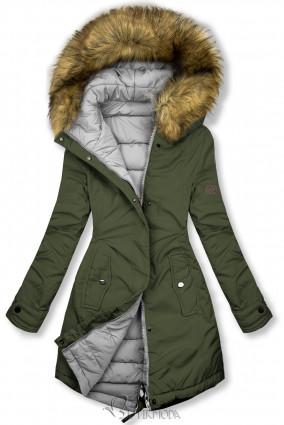Khaki és szürke színű kifordítható téli kabát