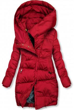 Piros színű téli kabát magas gallérral