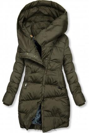 Khaki színű téli kabát magas gallérral