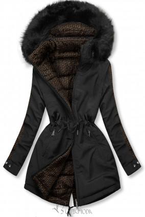 Fekete színű steppelt kifordítható kabát