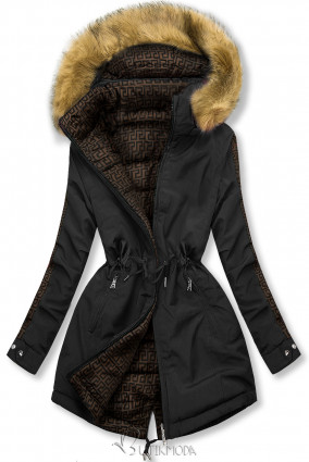 Fekete és barna színű steppelt kifordítható kabát