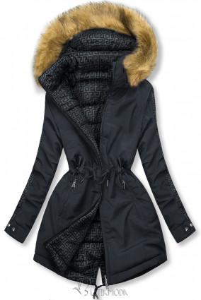 Sötétkék és szürke színű steppelt kifordítható kabát