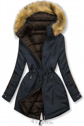 Sötétkék színű steppelt kifordítható kabát