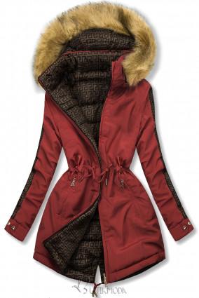 Tégla és barna színű steppelt kifordítható kabát