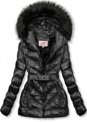 Fekete színű rövid téli kabát fekete színű műszőrmével