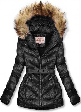 Fekete színű rövid téli kabát barna színű műszőrmével