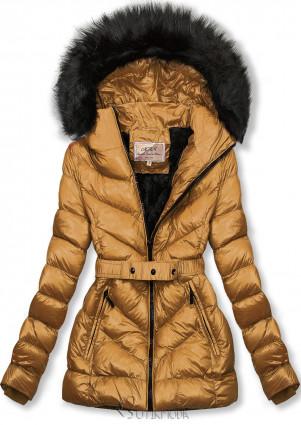 Karamellszínű rövid téli kabát fekete színű műszőrmével
