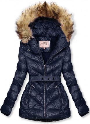 Sötétkék színű rövid téli kabát barna színű műszőrmével