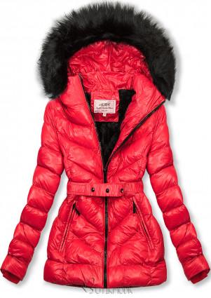 Piros színű rövid téli kabát fekete színű műszőrmével