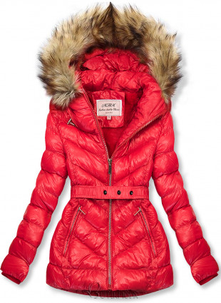 Piros színű rövid téli kabát barna színű műszőrmével