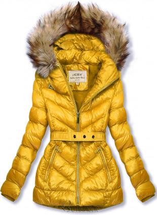 Sárga színű rövid téli kabát barna színű műszőrmével