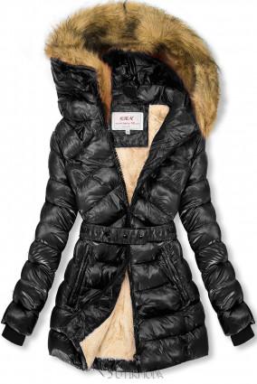 Fekete és bézs színű fényes kabát övvel