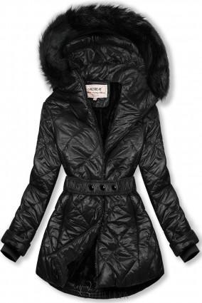 Fekete színű fényes téli kabát övvel