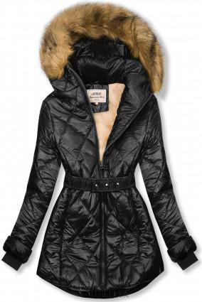 Fekete és bézs színű fényes téli kabát övvel