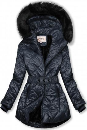 Sötétkék színű fényes téli kabát övvel