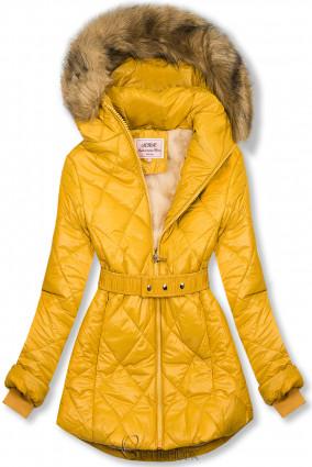 Sárga színű fényes téli kabát övvel