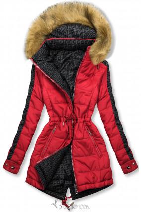 Piros és szürke színű kifordítható téli parka