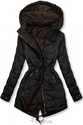 Fekete és barna színű kifordítható kabát béléssel