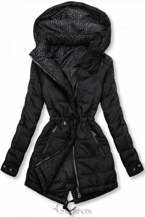 Fekete és szürke színű kifordítható kabát béléssel