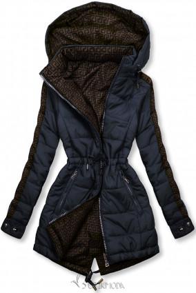 Sötétkék és barna színű kifordítható kabát béléssel
