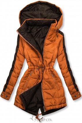 Téglanarancs és barna színű kifordítható kabát béléssel