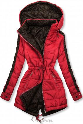 Piros és barna színű kifordítható kabát béléssel