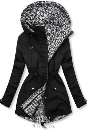Fekete és fehér színű kifordítható átmeneti kabát