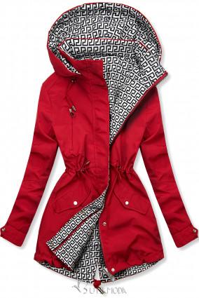 Piros és fehér színű kifordítható átmeneti kabát