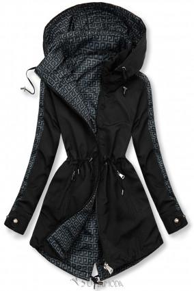 Mintás kifordítható parka - fekete és szürke színű