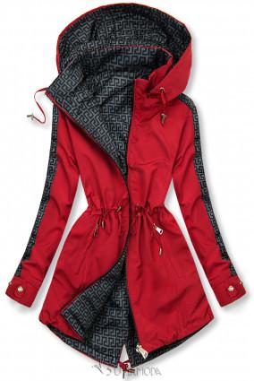 Mintás kifordítható parka - piros és szürke színű