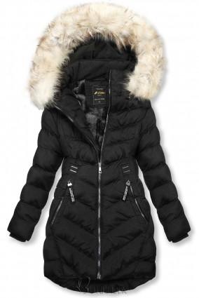 Fekete zsínű téli kabát levehető kapucnival