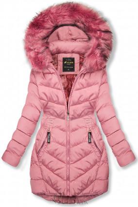 Rózsazsínű téli kabát levehető kapucnival
