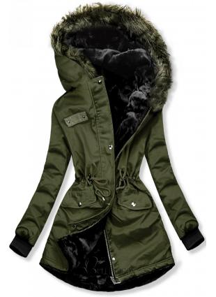 Zöld színű kifordítható téli kabát