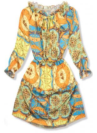 Kék és sárga színű mintás ruha