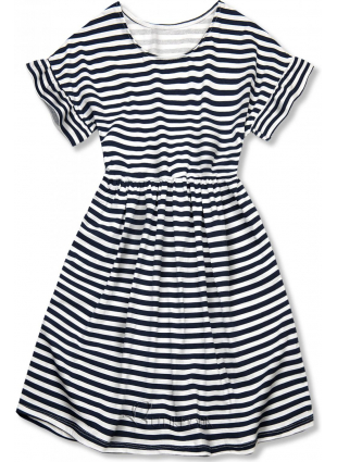 Kék és fehér színű, bő szabású csíkos ruha II.