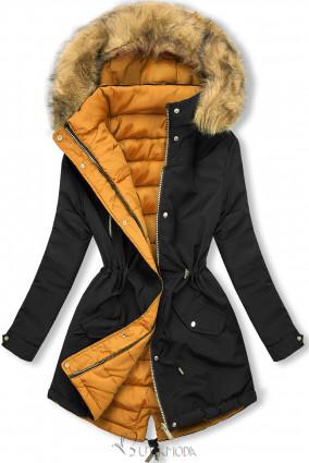 Téli kifordítható parka - fekete és karamellszínű