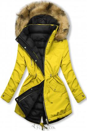 Téli kifordítható parka - sárga és fekete színű