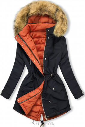 Téli kifordítható parka - sötétkék és narancs színű