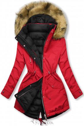 Téli kifordítható parka - piros és fekete színű