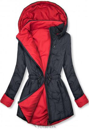 Steppelt őszi parka - sötétkék és piros színű