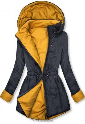 Steppelt őszi parka - sötétkék és sárga színű