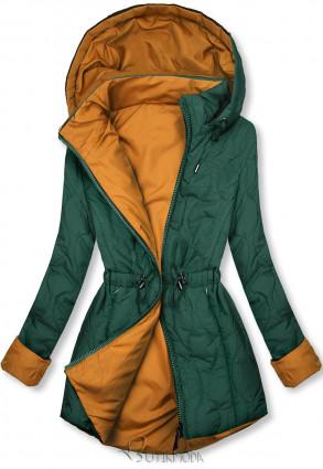 Steppelt őszi parka - zöld és karamellszínű