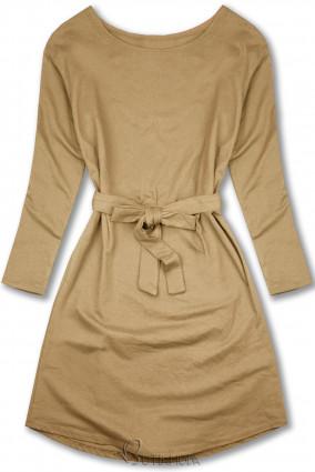 Bézs színű ruha derekán megkötővel