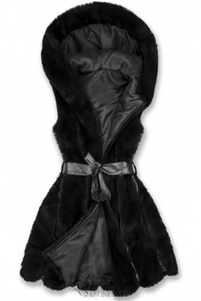 Fekete színű műszőrme mellény övvel