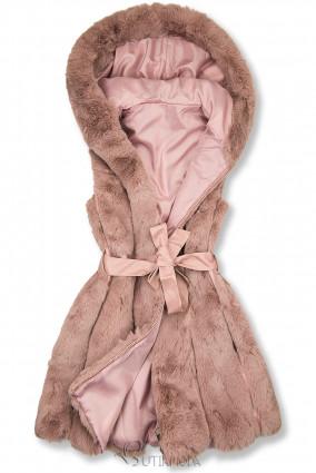 Vintage-rózsaszínű műszőrme mellény övvel